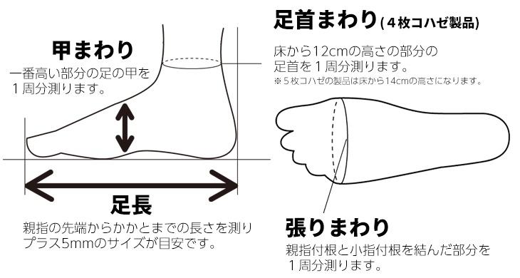 伸びる足袋4コハゼの採寸表