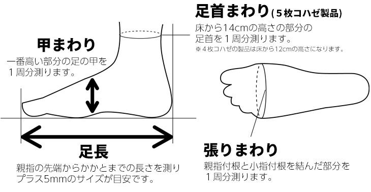 伸びる足袋5コハゼの採寸表
