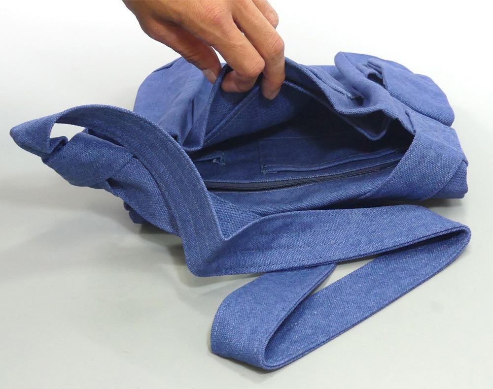 多機能 綿帆布 ショルダーバッグ(蓋部マジック)【PP袋入】商品写真