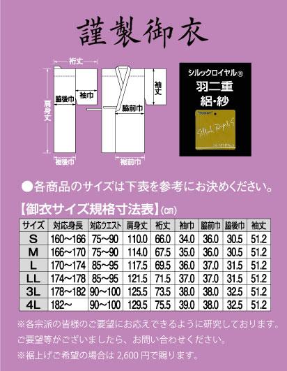 謹製御衣サイズ表