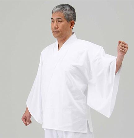 綿100%うす地襦袢 広袖・半衿・紐付【夏用 半襦袢 男性用 神職用】